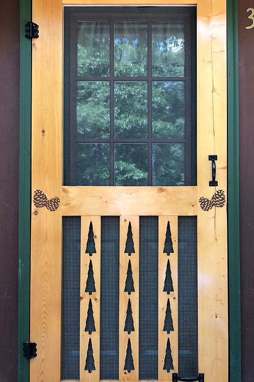 Wood Carved Screen Door W/Pine Tree & Pinecones