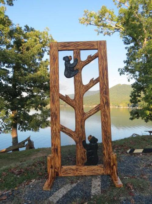 Wood-Carved Screen Door #1 Mama & Baby Bear