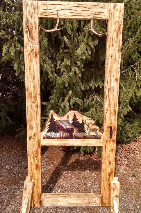 Wood-Carved Screen Door #4 Metal Art Deer & Cabin