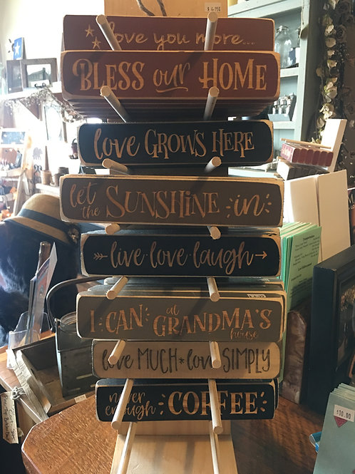 Wood Block Signs W/Inspirational Sayings