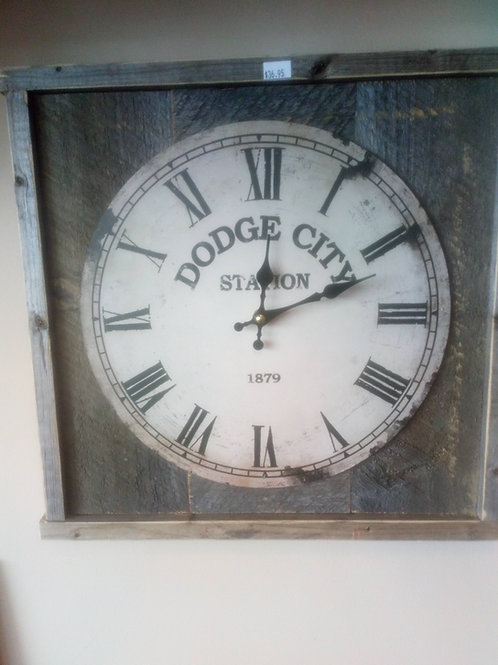 Dodge City Station Clock in Rustic Barnwood Frame
