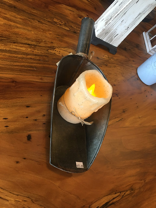 Metal Grain Scoop With Candle