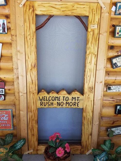 Wood-Carved Screen Door #7 Mt.Rush-No-More
