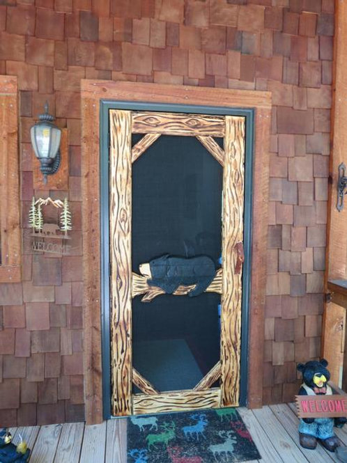 Wood-Carved Screen Door#6 Lazy Bear