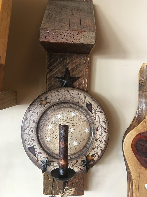 Wall Sconce Barnwood With Plate & Candlestick Holder