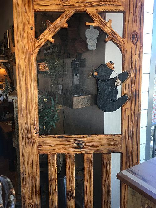 Wood-CarvedCustom Screen Door #10 Climbing Baby Bear