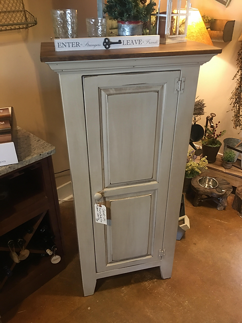 Amish-Made Jelly Cabinet with Primitive Boulder Finish & Special Walnut Top