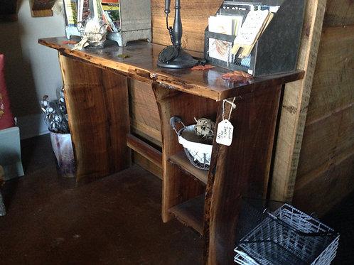 Walnut Desk With (2) Storage Shelves W/Stool