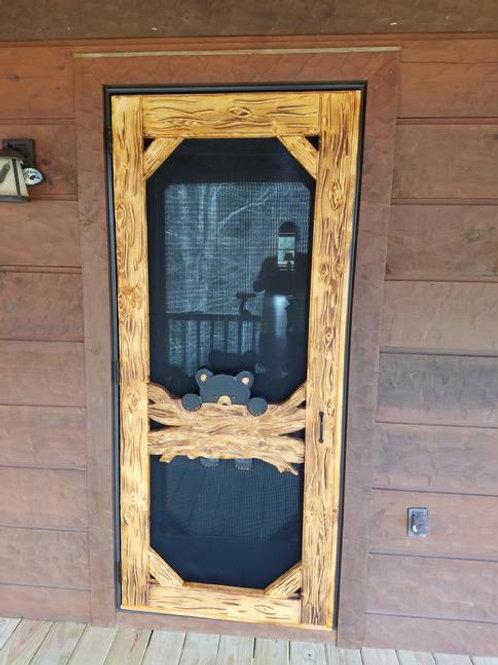 Wood-Carved Screen Door#2 Baby Bear Hanging on Log