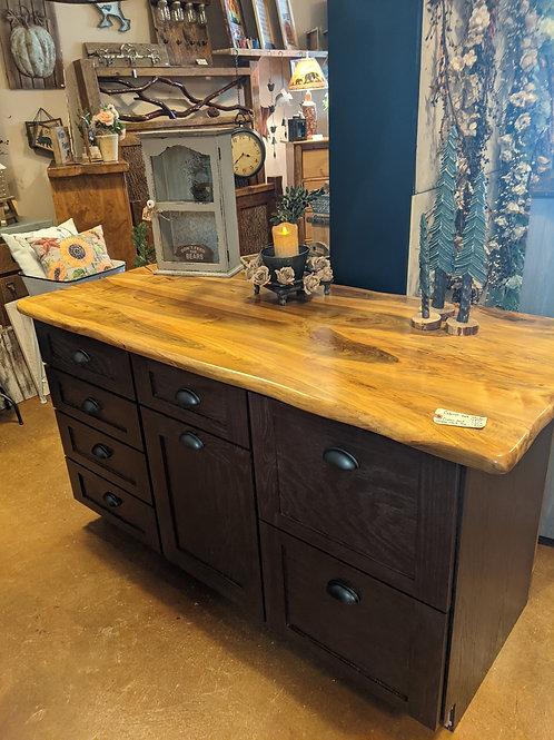 Custom Island With Shaker-Style Doors/Oak Stain, Maple Top