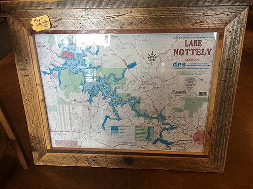 Lake Maps with Custom Barnwood Frame