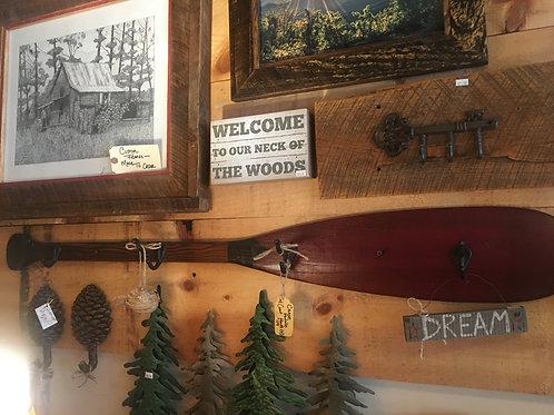 Coat & Hat Rack - Canoe Paddle w/4 Hooks or 3 Hooks