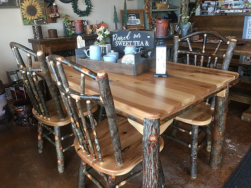 Amish-Made Hickory Farm Table & Chair Set