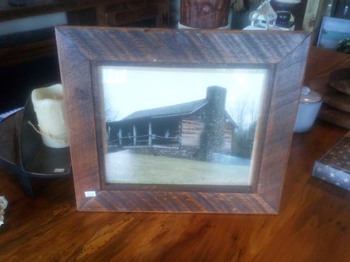 Log Cabin Picture With Barnwood Frame