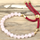 Thumbnail: 18K Gold Plated Gemstone Bordeaux String Bracelet - Rose Quartz