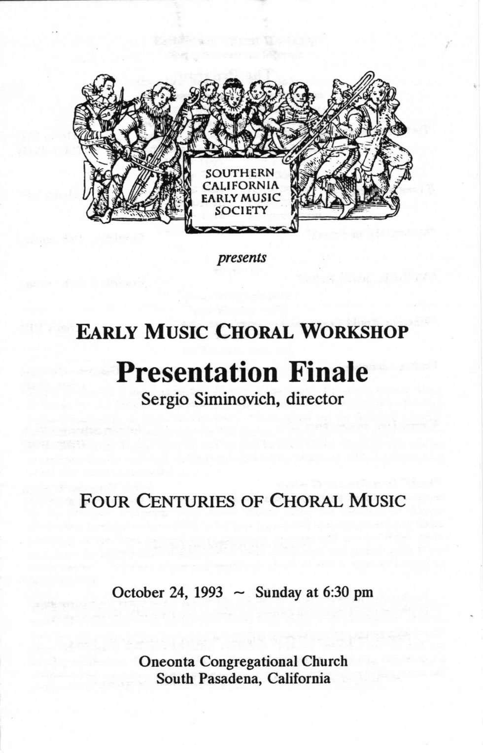 Early Music Choral Workshop