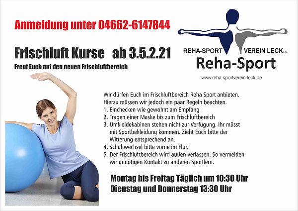 Reha Sport Frischluftbereich am Mai 2021