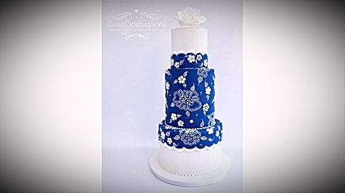 Royal Blue Embroidery Cake