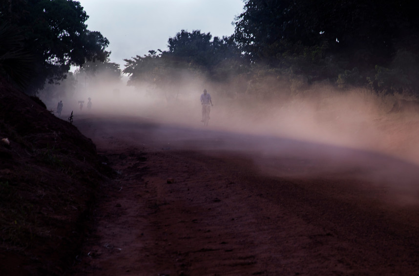 A cyclist in a sandstorm.