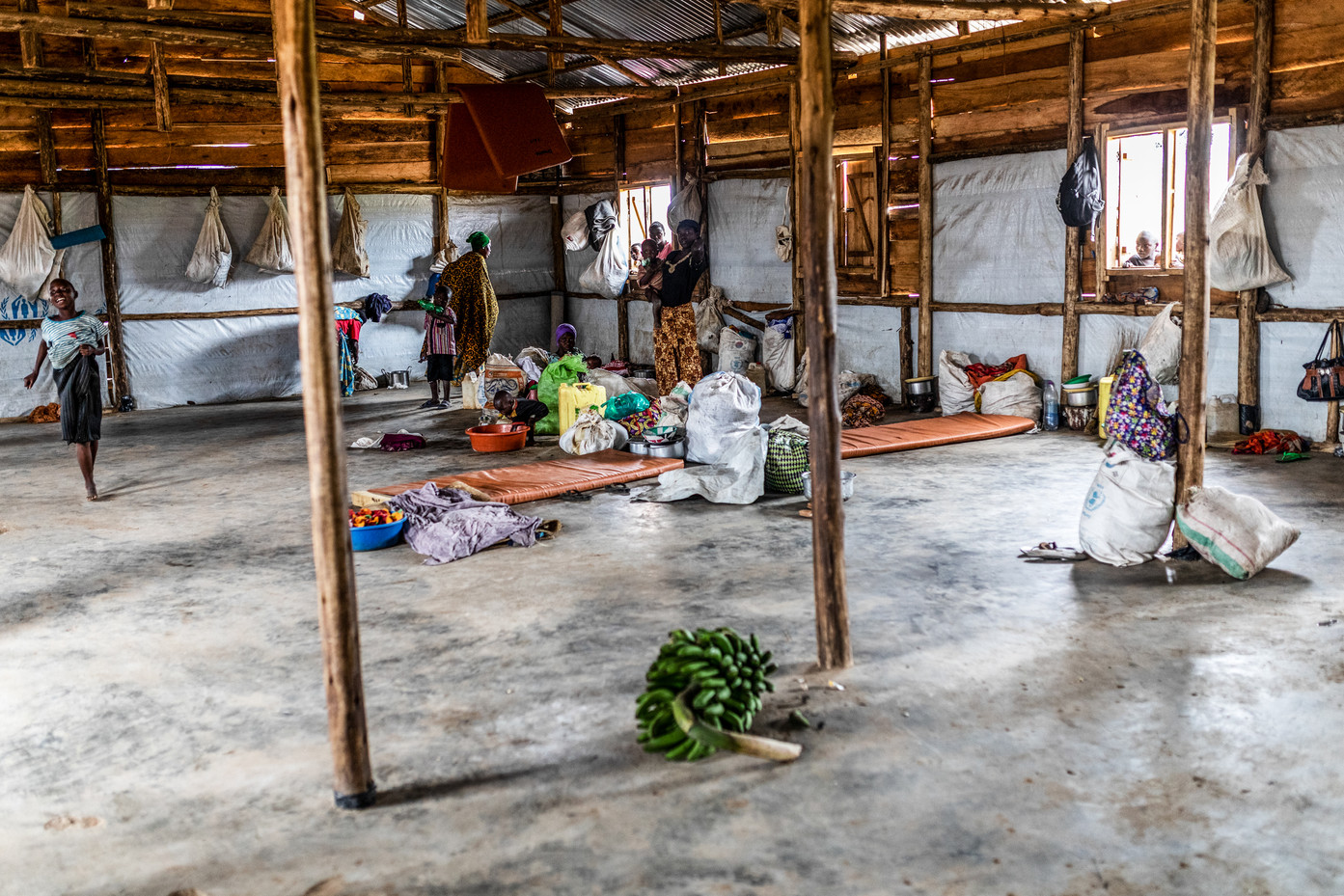 A temporary shelter for more than hundred refugees.The capacity is for forty refugees.