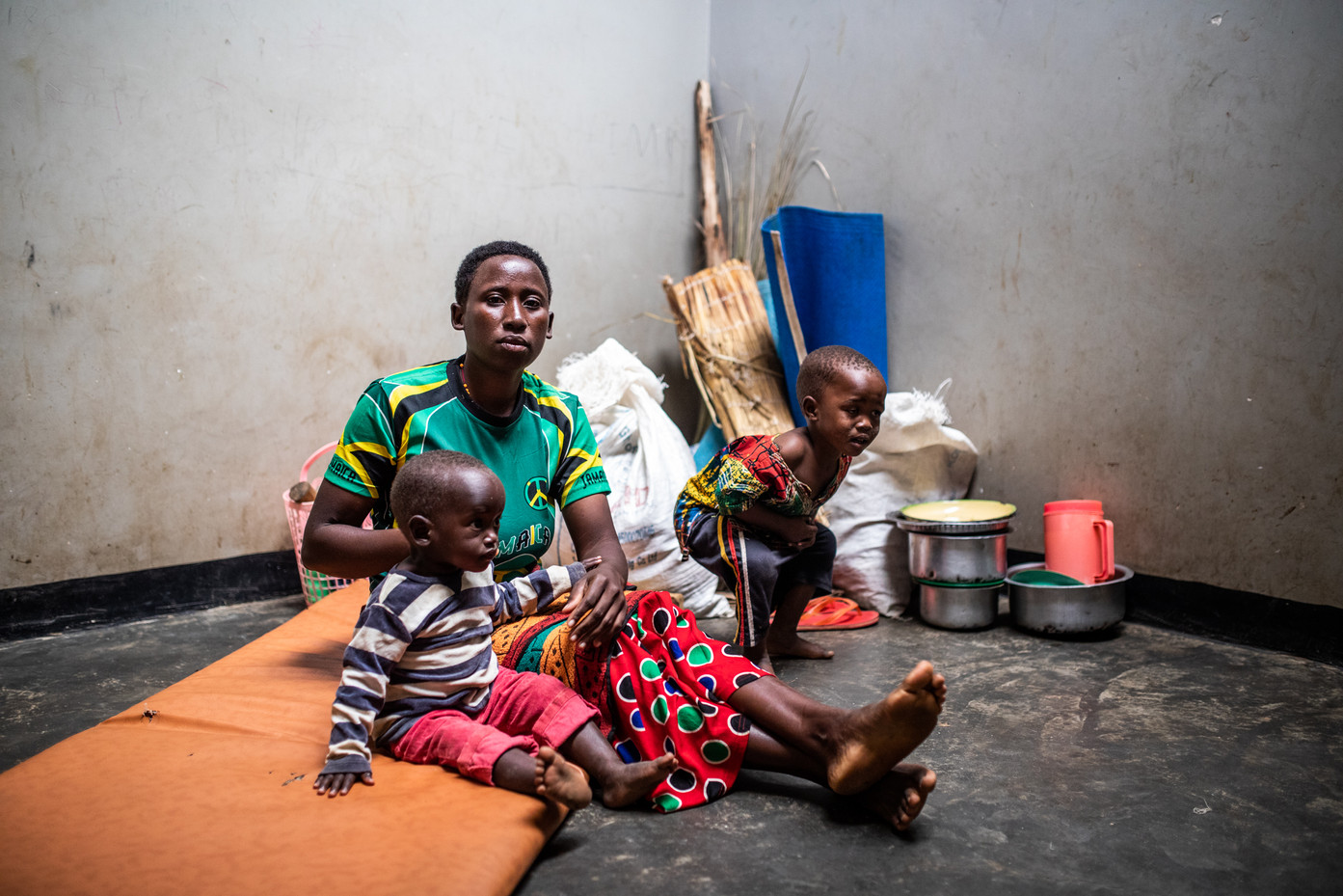 Louise Sekerera and her kids has been in Kabazana reception center for three months.
