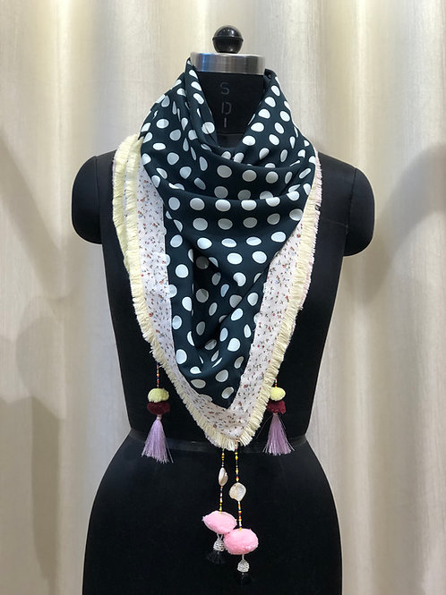 Bottle Green Polka Dot with Floral Bordered Scarf