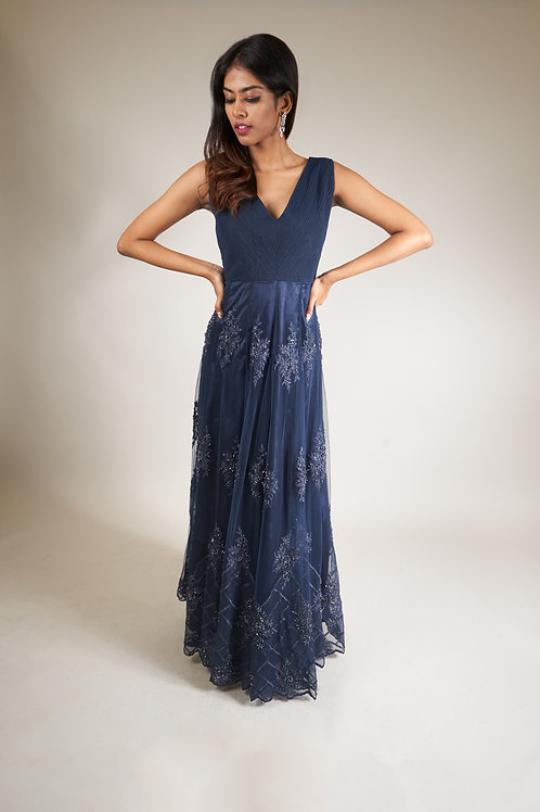 Midnight Blue Pleated Long Gown