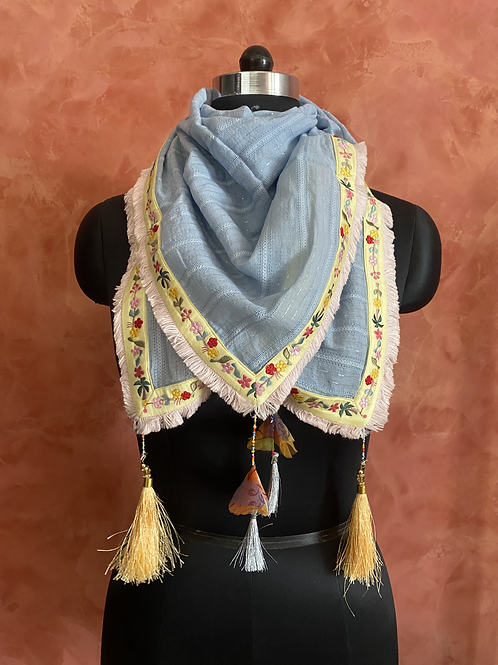 Powdered Blue Embroidered Scarf