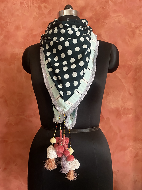 Bottle Green Polka Dot with Stripes Bordered Scarf