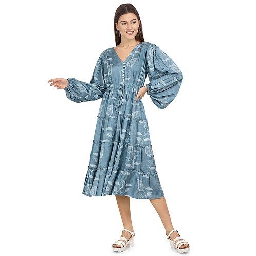 Printed Gypsy Midi Dress