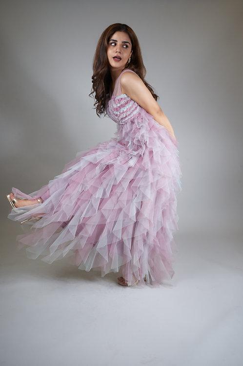 Three-tone Unicorn Cocktail Ruffle Dress