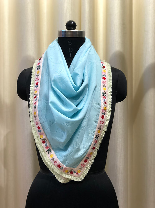 Ice Blue Embroidered Scarf