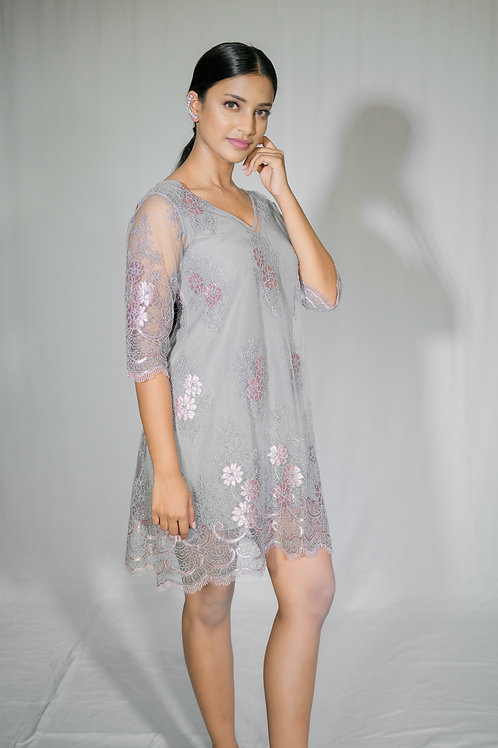 Grey Cord Embroidery Dress