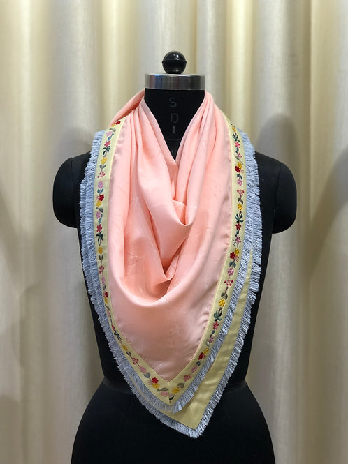 Salmon Peach Embroidered Scarf