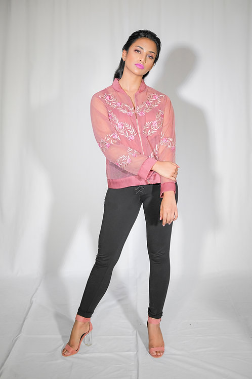 Onion Pink Bomber Jacket with Cami