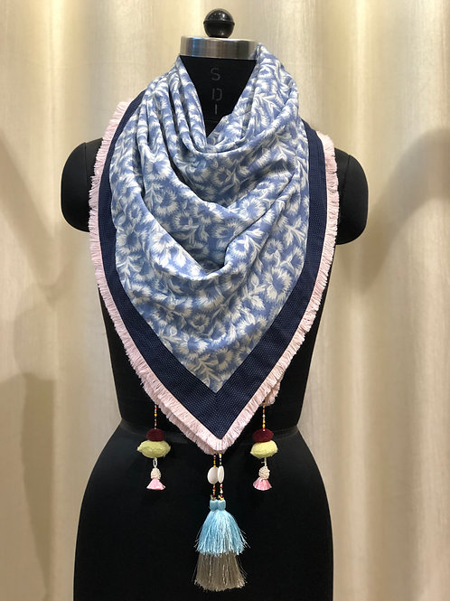 Denim Blue Printed Scarf