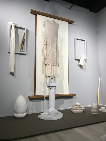 Installation (before lighting), Dress Matters: Clothing as Metaphor, Tucson Museum of Art.