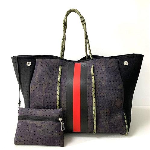 Dark Camo Red Stripe Tote Bag