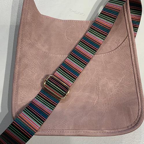 Lt. Pink Mini vegan leather Messenger Bag with Striped strap