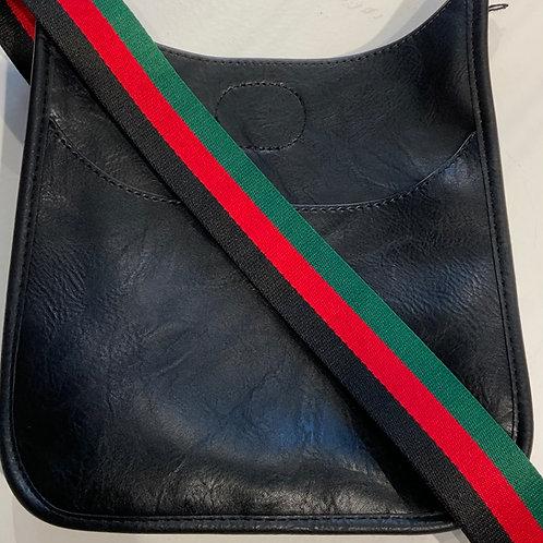 Mini Black vegan leather bag with striped strap