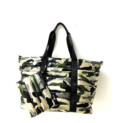 Metallic Camo Puffer Style Tote Bag