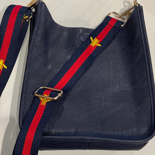Mini Navy Vegan leather bag with Bee Strap