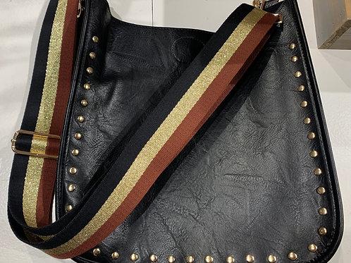 Vegan Leather Messenger w/ Studded Trim