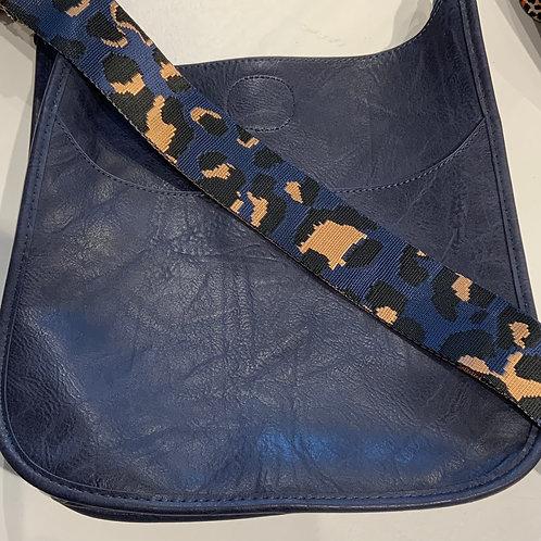 Reg. Size Navy Vegan leather Messenger & Strap