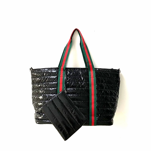 Black Puffer Style Tote with Striped Detail