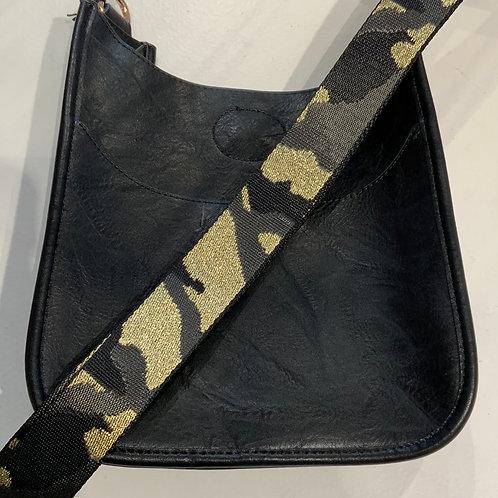 Mini Black Vegan Leather Messenger With Strap