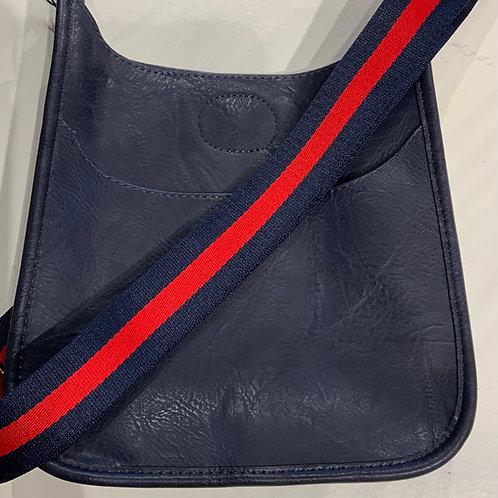 Mini Navy Vegan Leather bag with Striped Strap