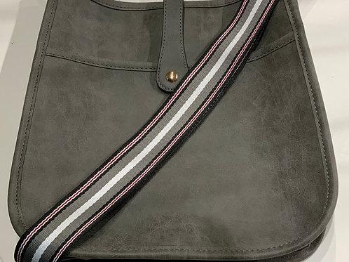 Grey Reg. Size Snap Closure Messenger w/ Black, Grey, Red Stripe Strap Set