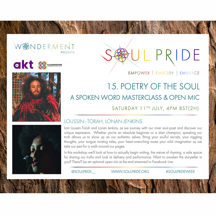 15. POETRY OF THE SOUL - A SPOKEN WORD MASTERCLASS & OPEN MIC
