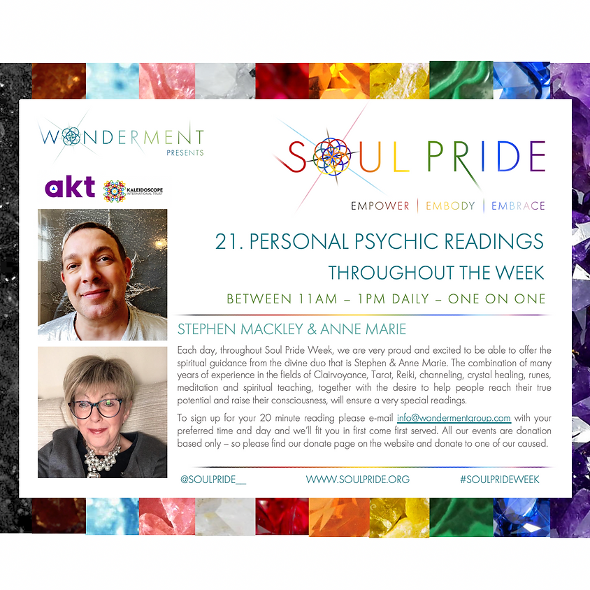 21. PERSONAL PSYCHIC READINGS THROUGHOUT THE WEEK